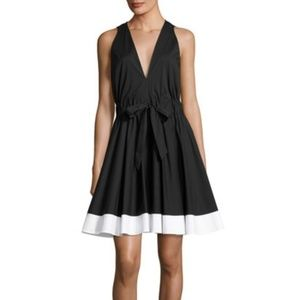 MILLY Lola Poplin Black Fit And Flare Tie Dress L